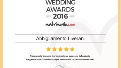 Unici premiati in Emilia Romagna con un  Wedding Awards 2016 nella categoria Sposo e accessori