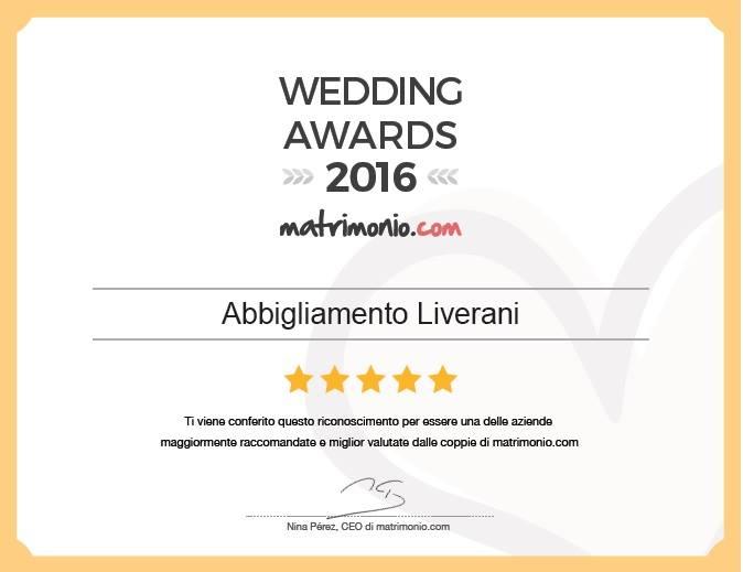 Unici premiati in Emilia Romagna con un  Wedding Awards 2016 nella categoria Sposo e accessori