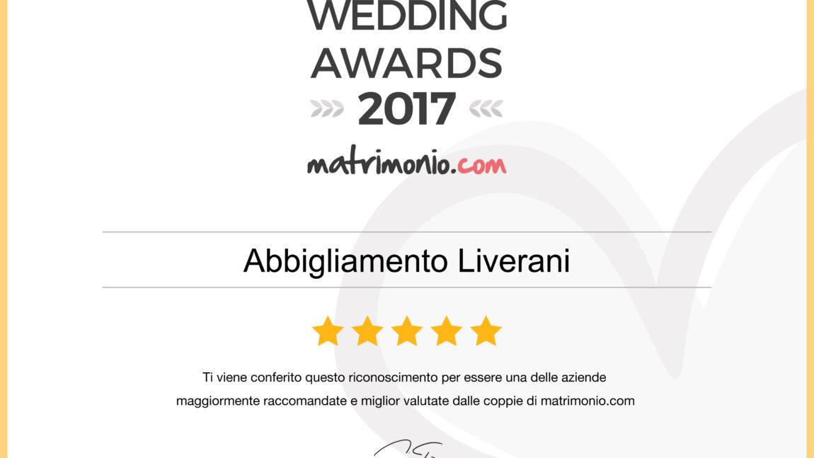 ANCHE QUEST'ANNO ABBIAMO RICEVUTO IL PREMIO WEDDING AWARDS